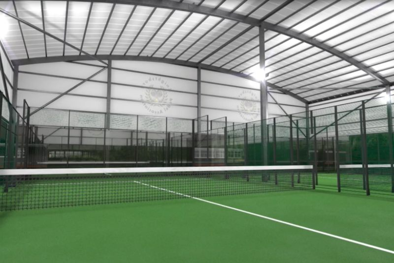 Padel Tennis Racket Leaning on a Ball